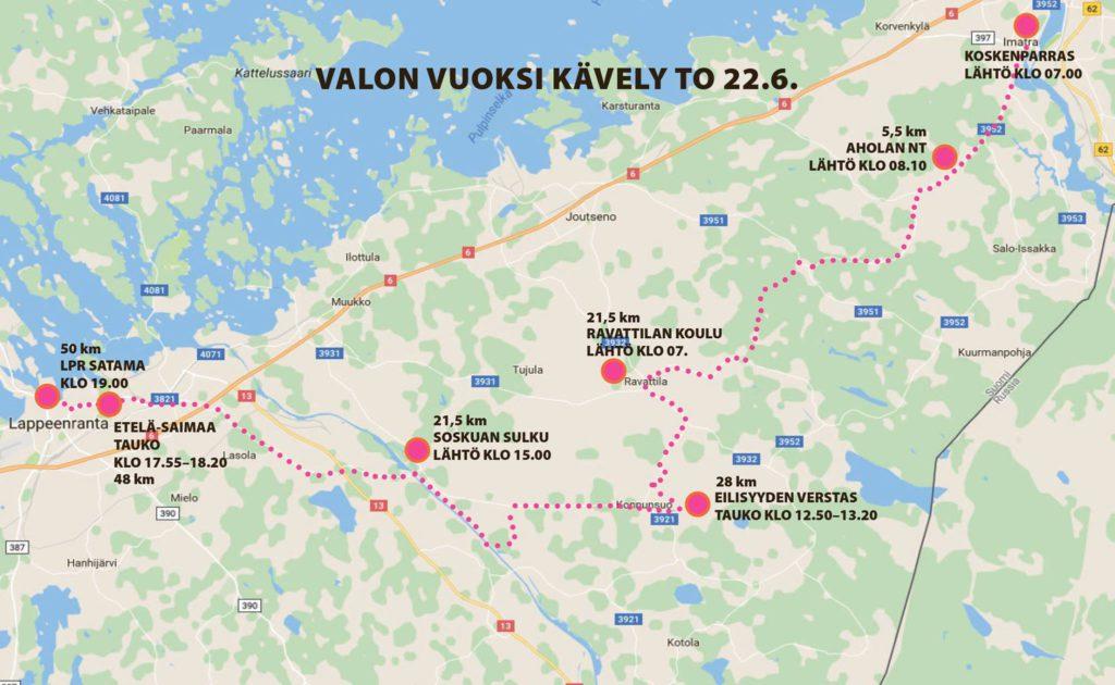Valon Vuoksi yhdistys hyväntekeväisyyskävely 2017, Imatralta Partakoskelle