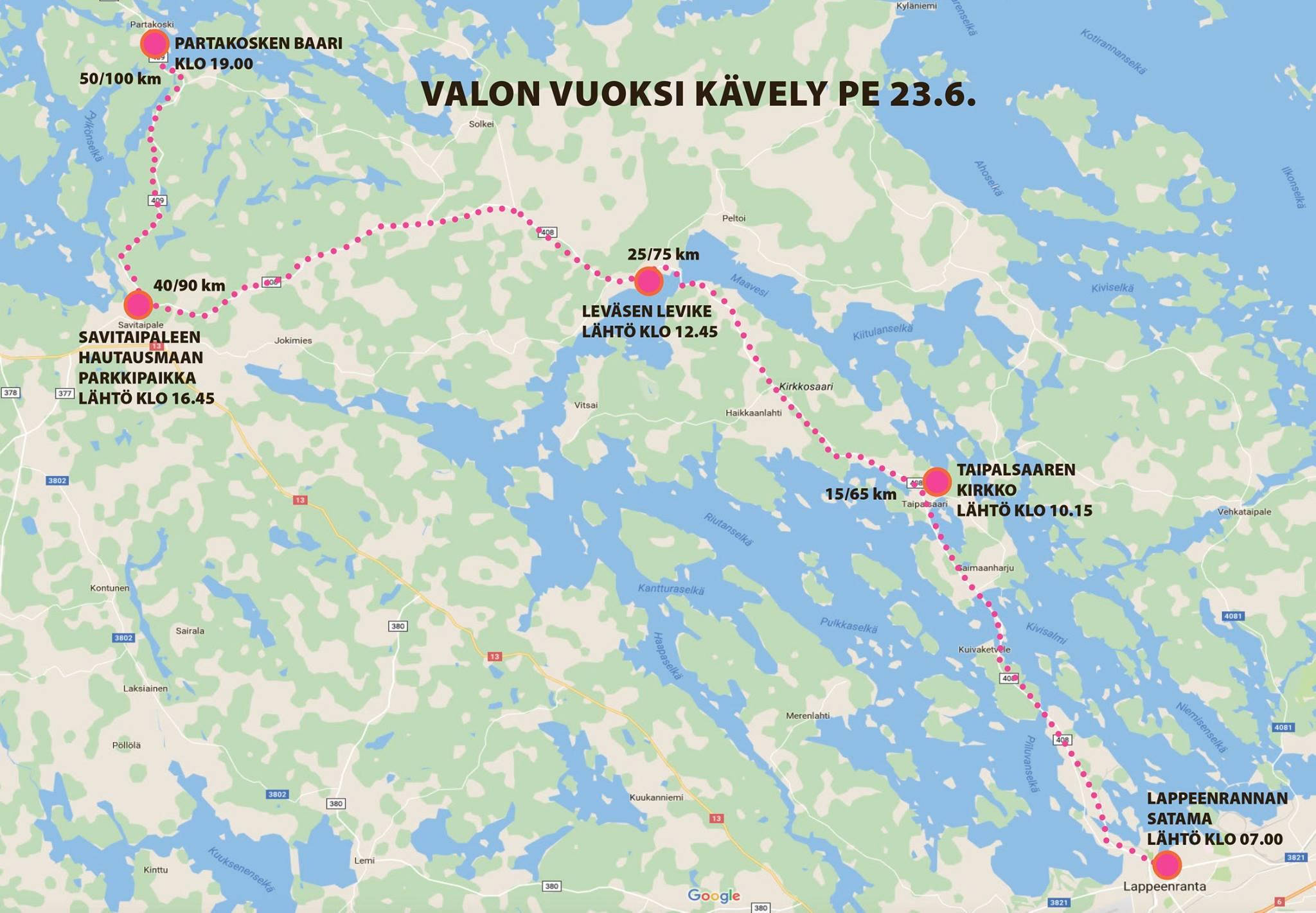 Klikkaa LPR–Partakoski -karttaa ja katso reitti tarkemmin.